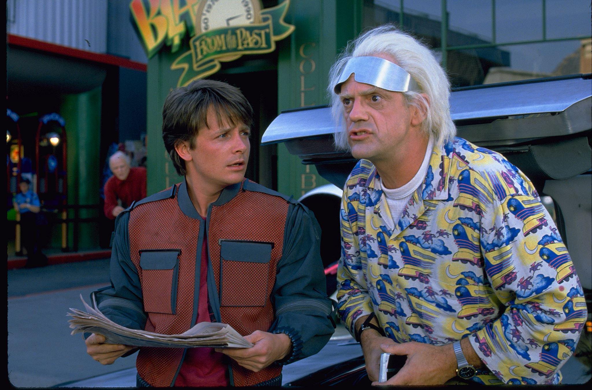 Marty McFly und Doc Brown bei ihrer Ankunft im Jahr 2015