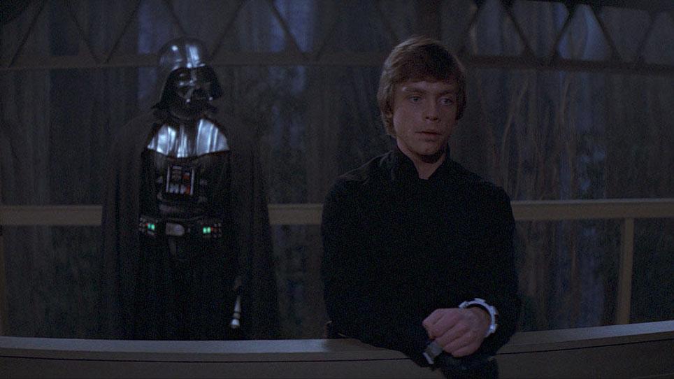 Luke Skywalker und Darth Vader in Episode VI.