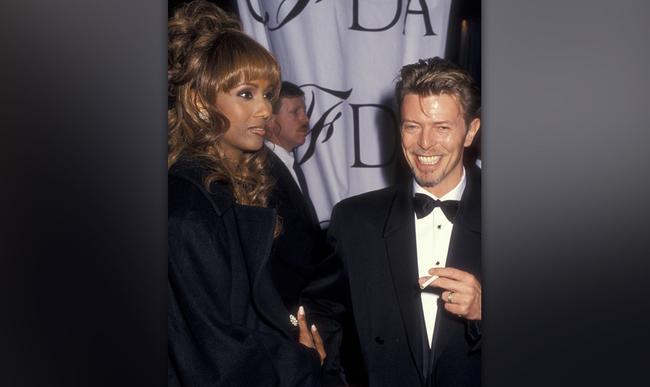 Musician David Bowie and model Iman attend 13th Annual Council of Fashion Designers of America Awards on February 7, 19934 at