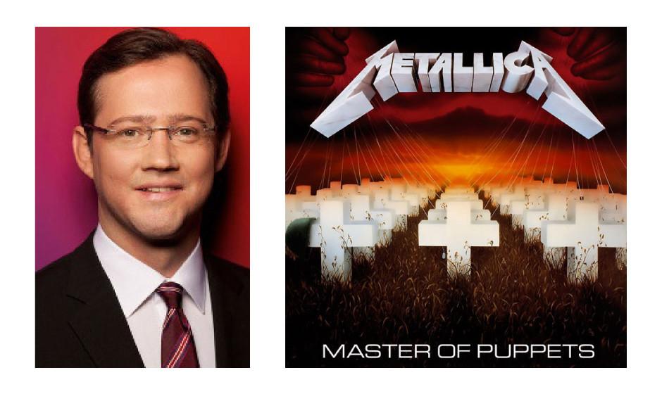 """Dirk Wiese (32) (SPD) Metallica – """"Master Of Puppets"""" """"Ohne Musik wäre das Leben nicht vollständig. Von Metallica über Guns N' Roses bis zu den Toten Hosen ist es aber die rockige Variante, die dann laufen muss. Mein Lieblingsalbum ist ganz klar Metallica – 'Master of Puppets'."""""""