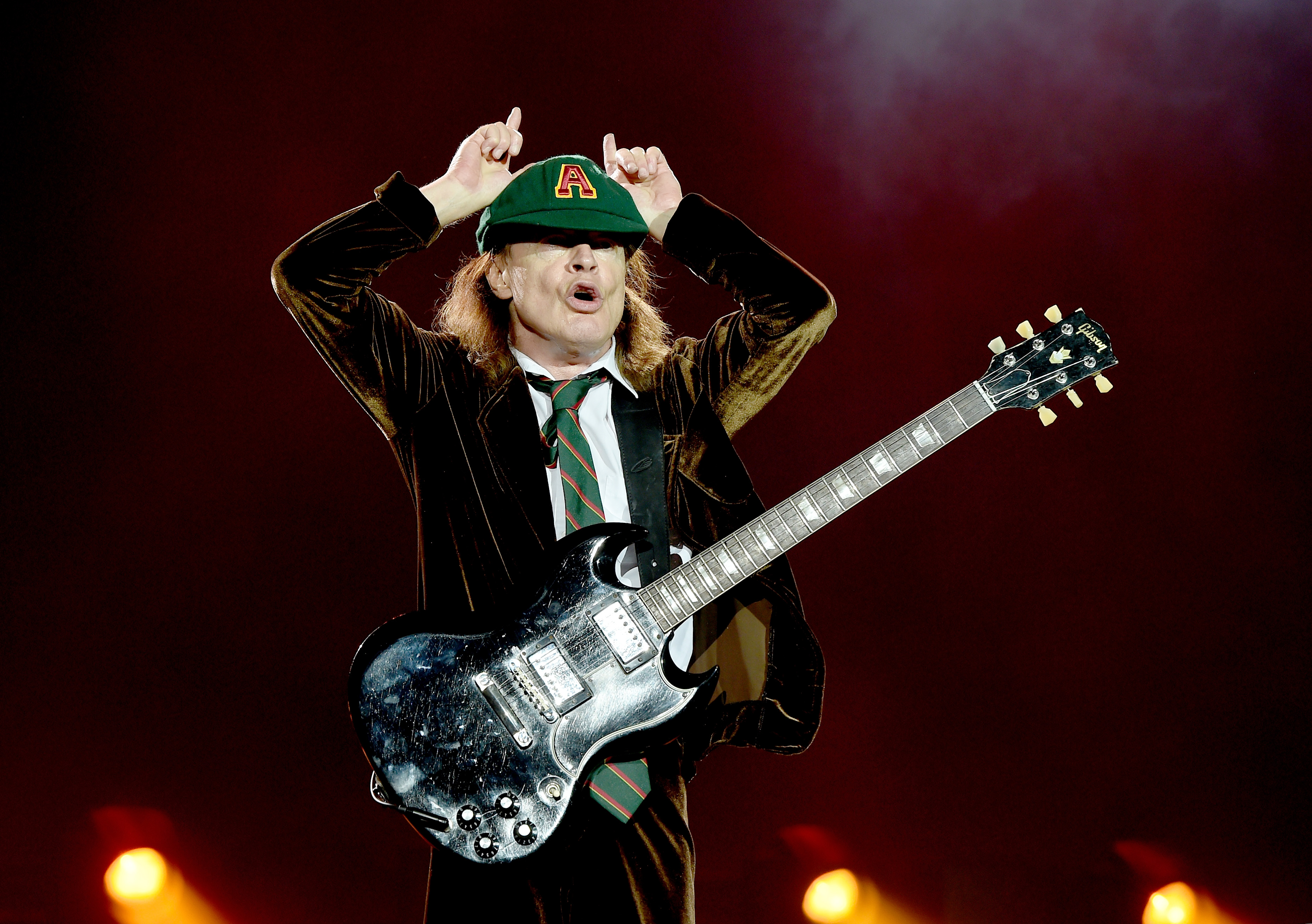 of AC/DC performs at Dodger Stadium on September 28, 2015 in Los Angeles, California.
