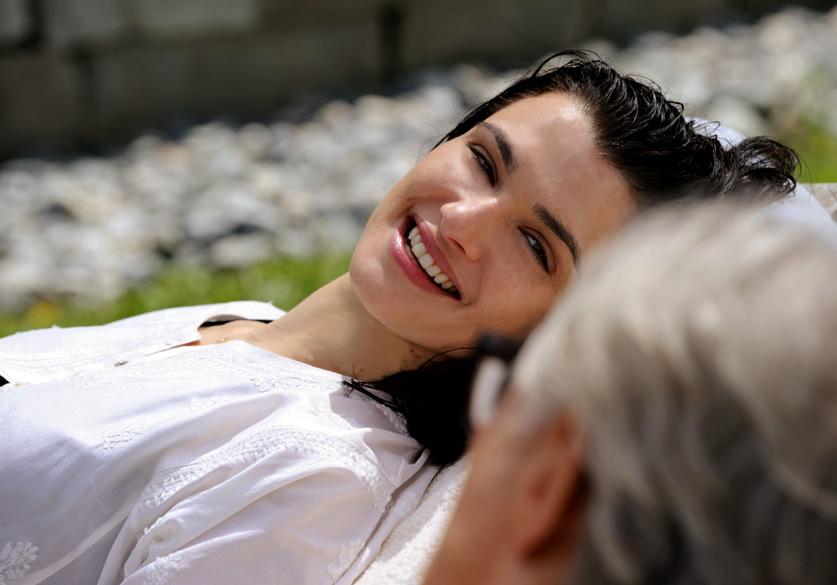 SET DEL FILM 'LA GIOVINEZZA' DI PAOLO SORRENTINO.NELLA FOTO HARVEY KEITEL  E  RACHEL WEISZ.FOTO DI GIANNI FIORITO