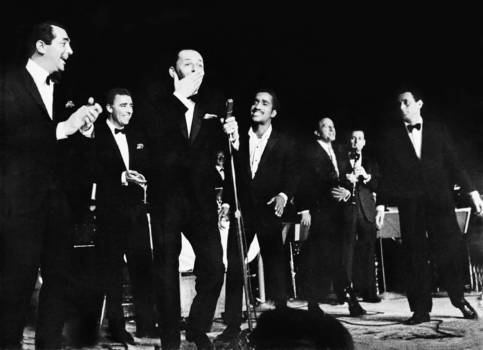 """Summit at the Sands."" The birth of the Rat Pack: Dean Martin, Peter Lawford, Frank Sinatra, Sammy Davis, Jr., and Joey Bishop, Las Vegas, 1960"