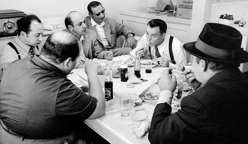 Sinatra as Nathan Detroit, breaks for lunch while filming MGM's Guys and Dolls, Los Angeles, 1955