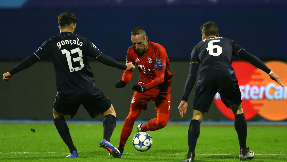 during the UEFA Champions League Group F match between GNK Dinamo Zagreb and FC Bayern Munchen at Maksimir Stadium on Decemb