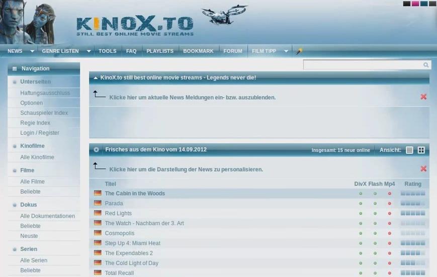 Kinox.to bietet die Möglichkeit, illegal Filme zu streamen