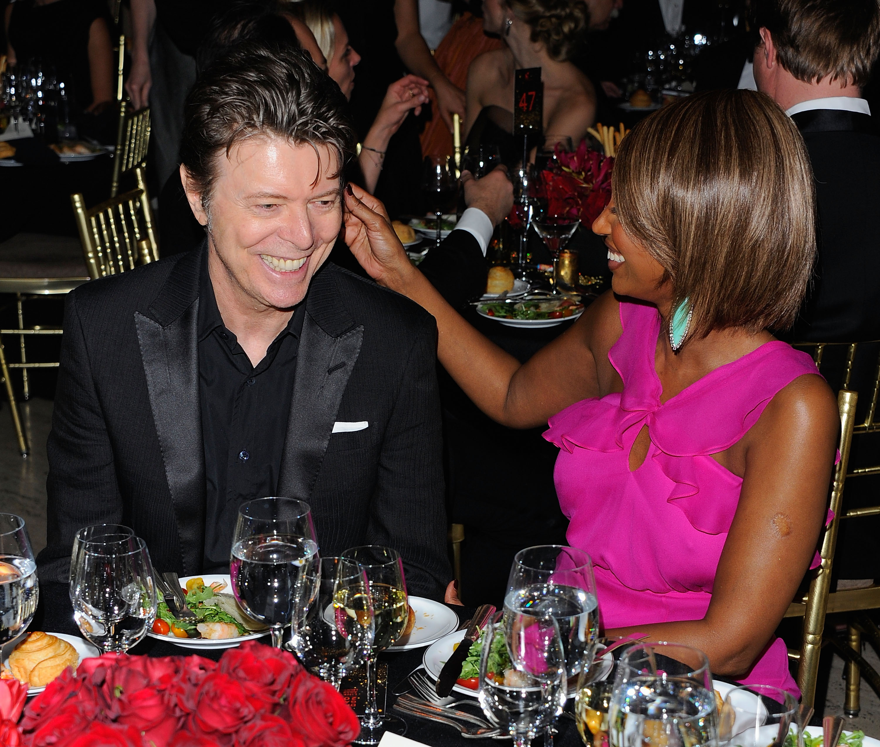 NEW YORK, NY - APRIL 28:  Musician David Bowie and supermodel Iman attend the DKMS' 5th Annual Gala: Linked Against Leukemia