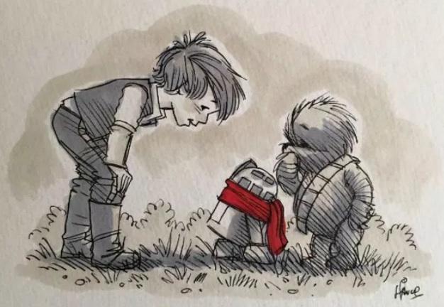 Christopher Robin trifft auf R2-D2