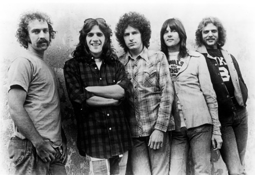 Die Eagles 1974, L-R: Bernie Leadon, Glenn Frey, Don Henley, Randy Meisner, Don Felder