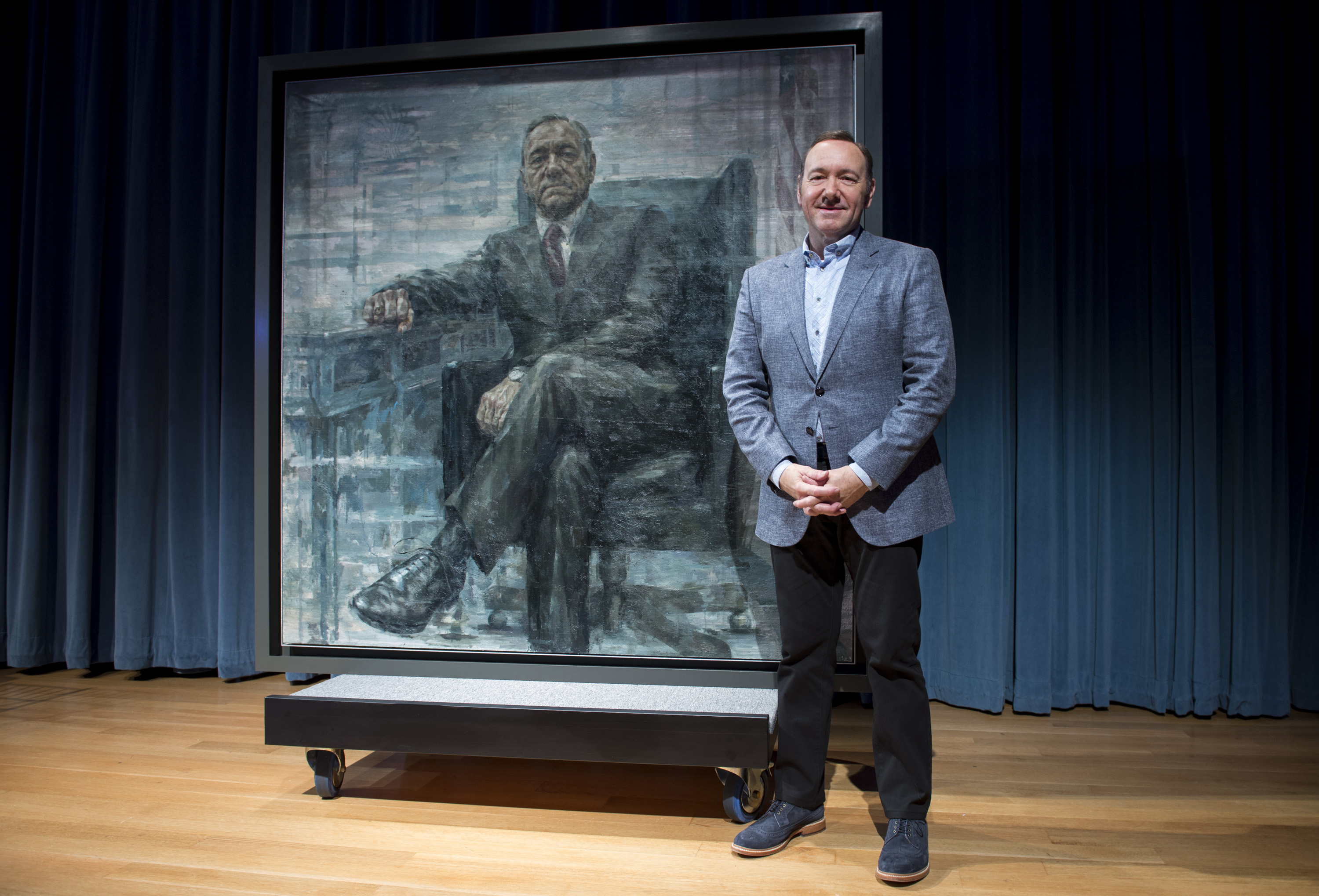 WASHINGTON, DC - FEBRUARY 22: (EDITORS NOTE:This image has been digitally altered.) Kevin Spacey poses for a photo with a por