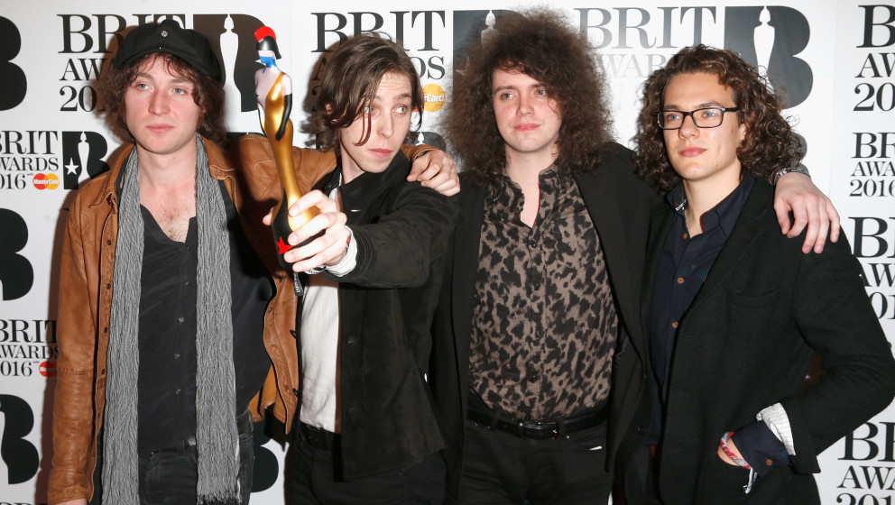 poses in the winners room at the BRIT Awards 2016 at The O2 Arena on February 24, 2016 in London, England.