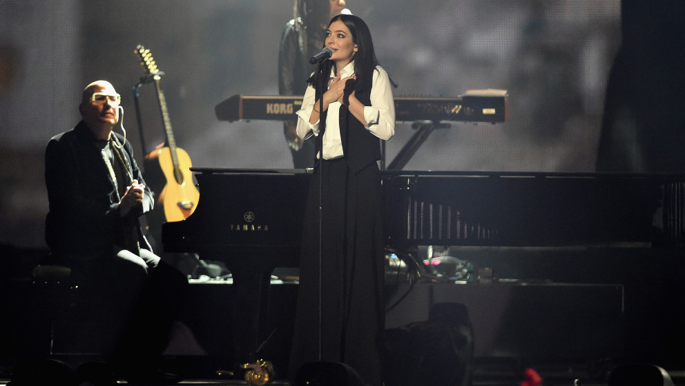 on stage during the BRIT Awards 2016 at The O2 Arena on February 24, 2016 in London, England.