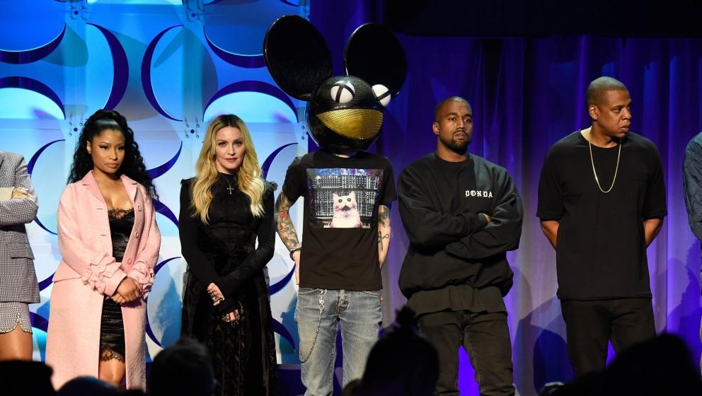 Moderne Ritter für Künstlerrechte bei der Präsentation von Tidal - darunter auch Deadmau5 und Kanye West