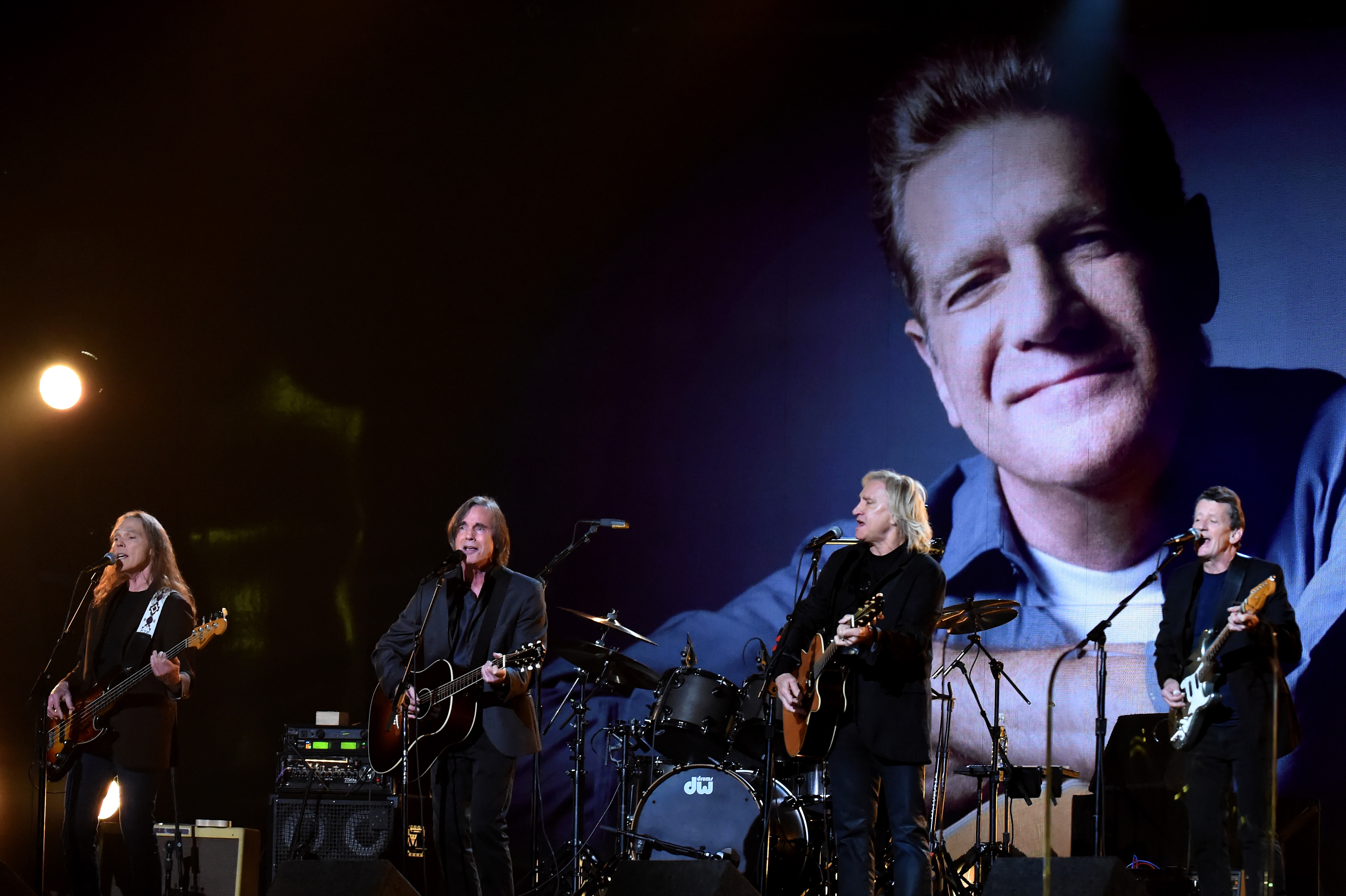 LOS ANGELES, CA - FEBRUARY 15: Musicians Bernie Leadon, Timothy B. Schmit, Don Henley and Joe Walsh of The Eagles perform wit