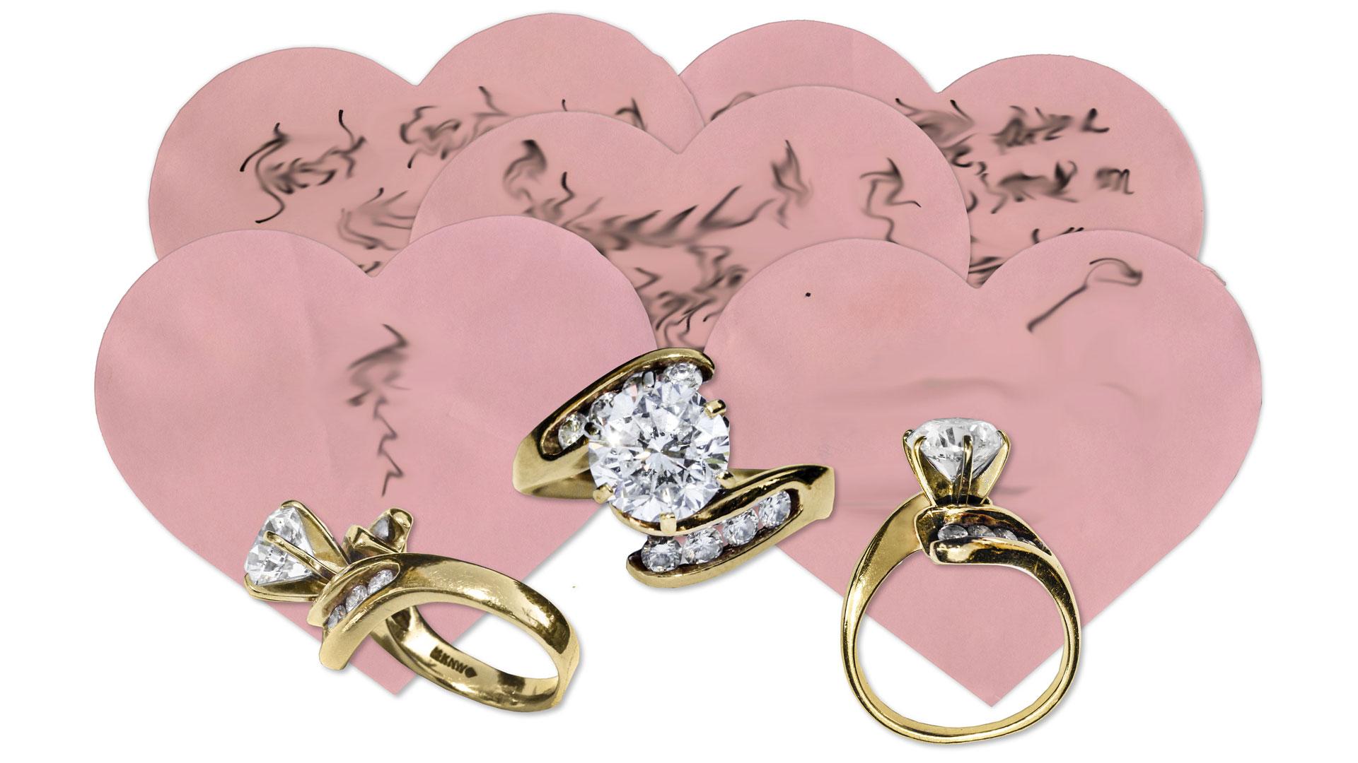 Der Verlobungsring und die Herzchen-Zettel mit romantischen Botschaften (Text wurde vom Auktionshaus unkenntlich gemacht)