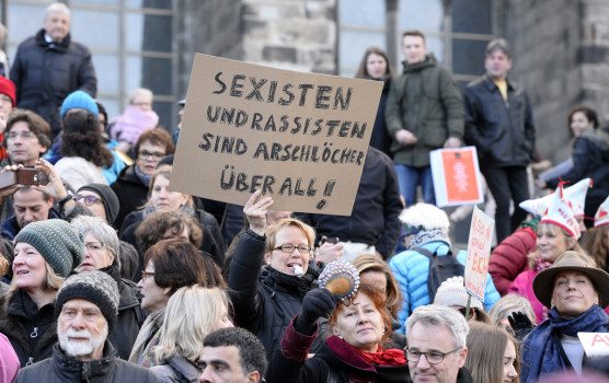 Proteste in Folge der sexuellen Übergriffe der Kölner Silvesternacht.