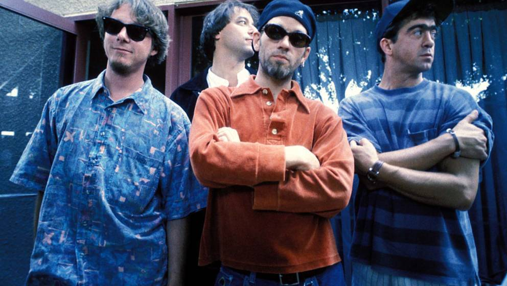 Mike Mills, Bill Berry, Peter Buck and Michael Stipe of R.E.M (Photo by Jeff Kravitz/FilmMagic, Inc)