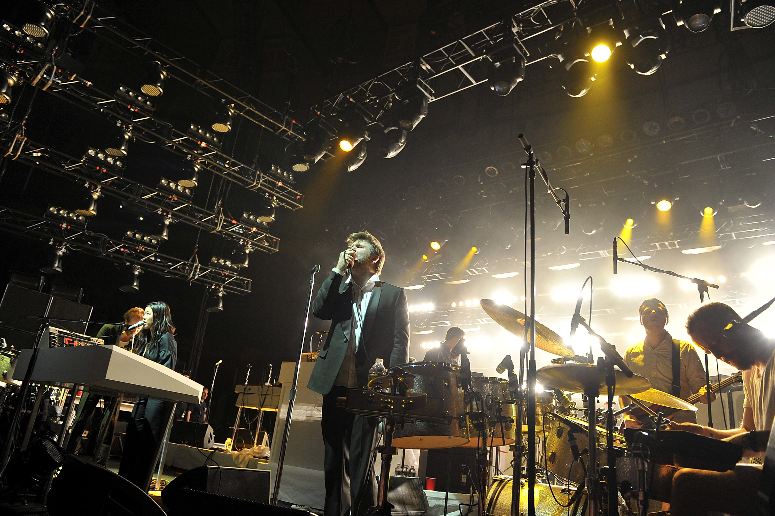 NEW YORK, NY - APRIL 02:  LCD Soundsystem performs at Madison Square Garden on April 2, 2011 in New York City.  (Photo by The