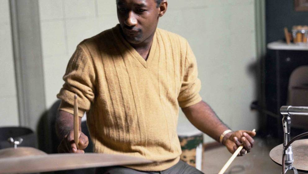 MEMPHIS, TN - 1967:  Stax Records studio house band drummer Al Jackson, Jr. (of Booker T. & the M.G.'s) records in the St