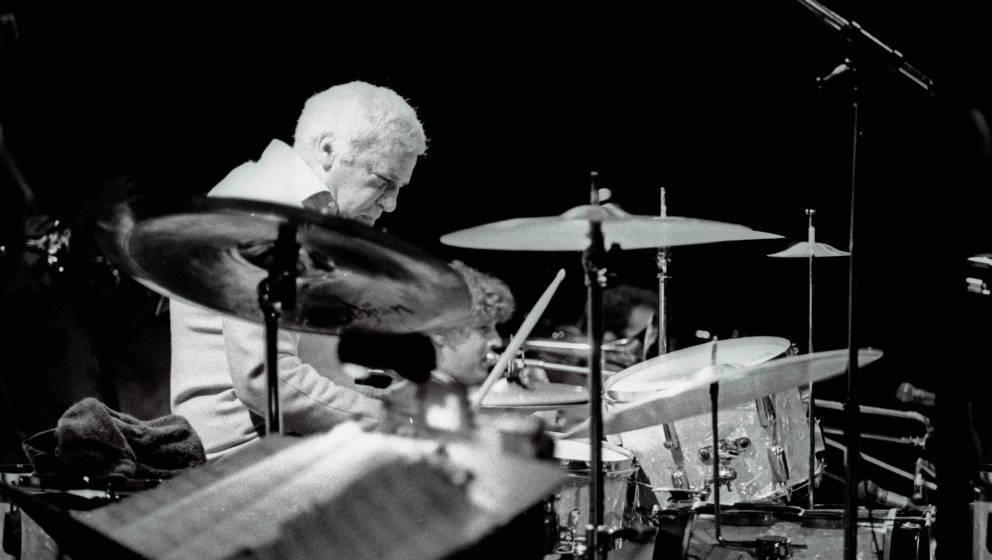 Buddy Rich, American jazz drummer and bandleader, Lewisham Jazz Festival, Lewisham, London, 1986.  (Photo by Jazz Services/He
