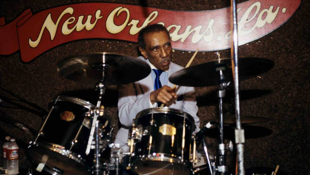 UNITED STATES - MAY 01:  Photo of Earl PALMER; Drummer Earl Palmer performing on stage at Ponderosa Stomp at the Rock 'n' Bow