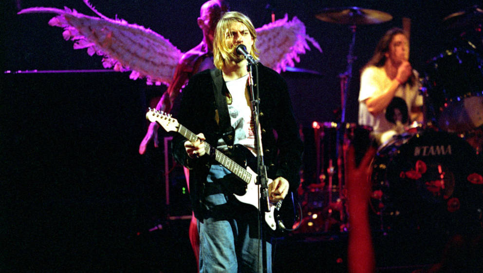 Kurt Cobain and Dave Grohl of Nirvana during MTV Live and Loud: Nirvana Performs Live - December 1993 at Pier 28 in Seattle,