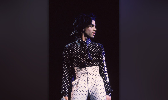 American singer and songwriter Prince performs in concert, wearing a black and white polka-dot outfit, Philadelphia, Pennsylvania, October 18, 1988. (Photo by Frank Micelotta/Getty Images)