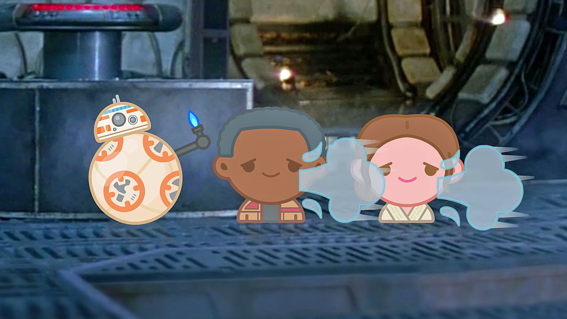 BB-8, Finn und Rey als Emojis im Millennium Falken.