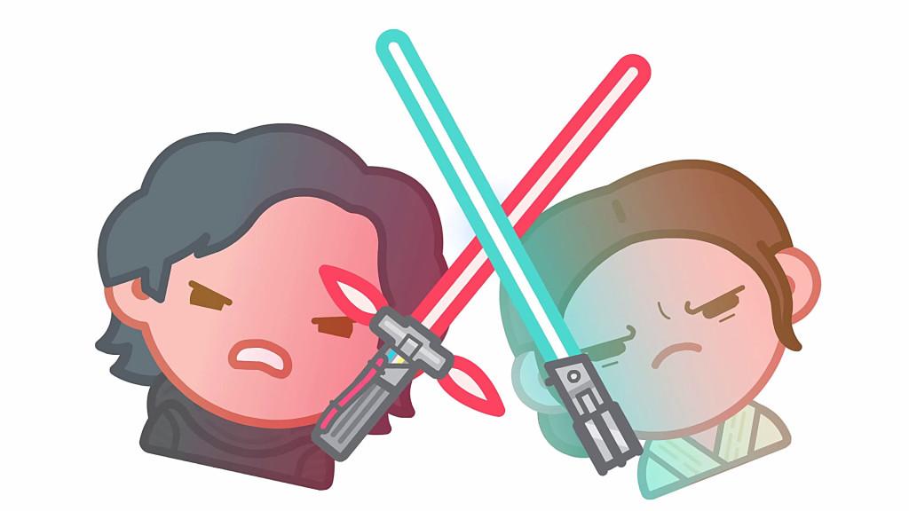 Emoji-Kylo und Emoji-Rey liefern sich ein Lichtschwert-Duell