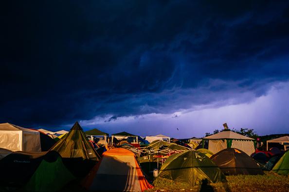 NEUHAUSEN, GERMANY - JUNE 24:  Heavy thunderstorms are seen during the Southside festival on June 24, 2016 in Neuhausen, Germ