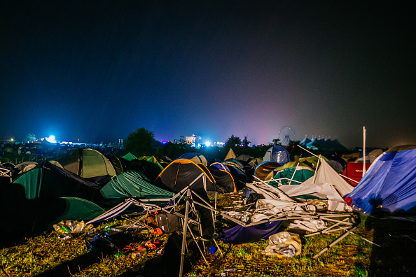 NEUHAUSEN, GERMANY - JUNE 24:  General view of damaged camping ground after heavy thunderstorms during the Southside festival