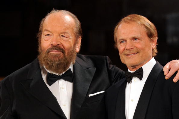 ROME - MAY 07: Bud Spencer and Terence Hill attend the 'David Di Donatello' movie awards at the Auditorium Conciliazione on M