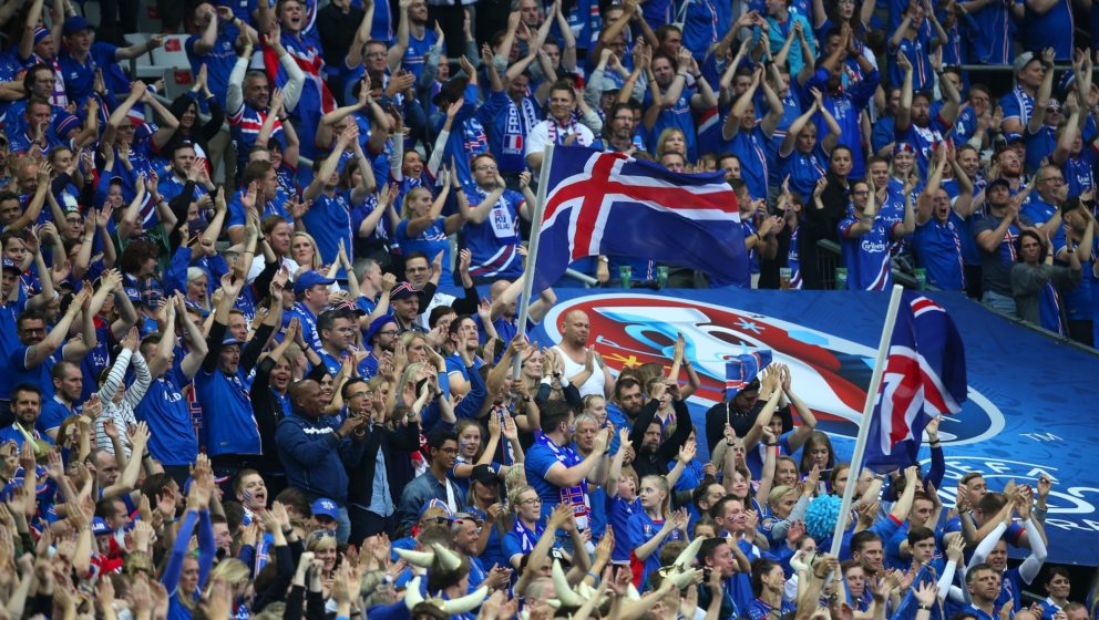 PARIS, FRANCE - JULY 3: Supporters of Iceland cheer for their team during the UEFA Euro 2016 quarter final match between Fran
