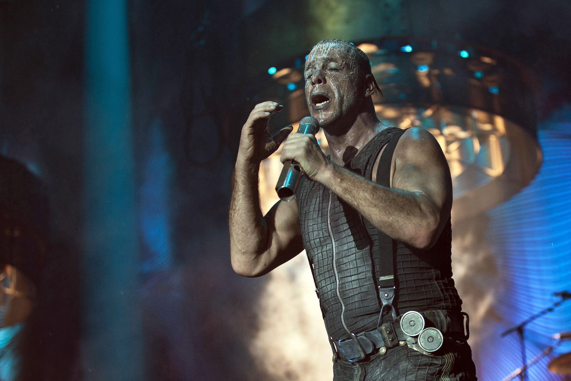 The German industrial metal band Rammstein performs a live concert at Forum in Copenhagen. Here the band?s characteristic voc