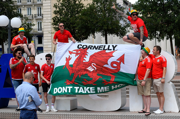 LYON, FRANCE - JULY 06:  Wales fans pictured at Place Antonin Poncet prior to the UEFA Euro 2016 semi final between Wales and