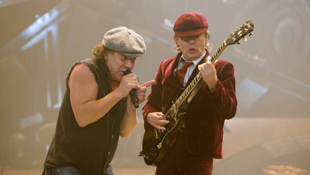 INDIANAPOLIS - NOVEMBER 03:  Brian Johnson and Angus Young of the Australian rock band AC/DC perform in concert on their 'Bla