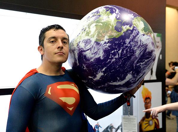 SAN DIEGO, CA - JULY 20:  Superman cosplayer Bersain Gutierrez attends Comic-Con International 2016 preview night on July 20,