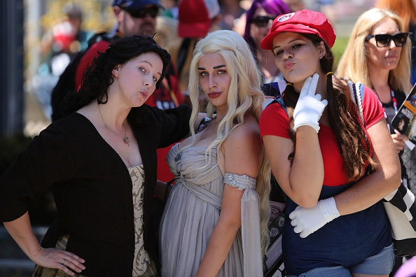 From left, Rebecca Eusey plays the character Claire from the Outlander novels, Eiraina Cosplay plays Mother of Dragon from Ga