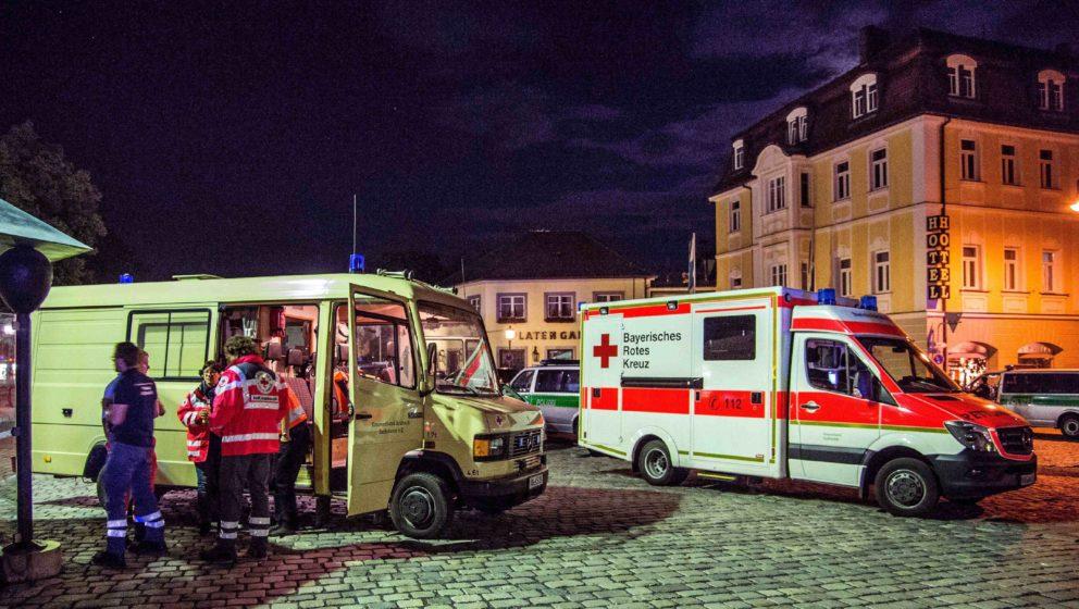 Rettungsdienste beim Einsatz in Ansbach