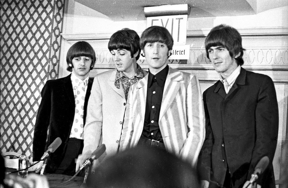 NEW YORK - AUGUST 23: Rock and roll band 'The Beatles' answer questions regarding their Shea Stadium concert at a press confe