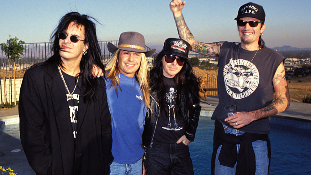 Nikki Sixx, Vince Neil, Mick Mars and Tommy Lee during Motley Crue Photo Shoot in Northridge, California, United States. (Pho