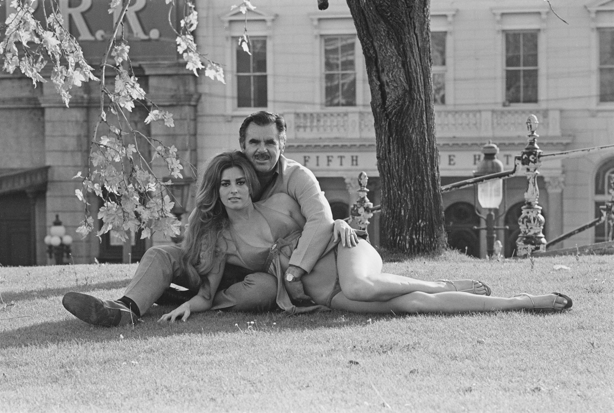 American film director and producer Russ Meyer (1922 - 2004) with his fiancee, actress Edie Williams, New York City, USA, 4th
