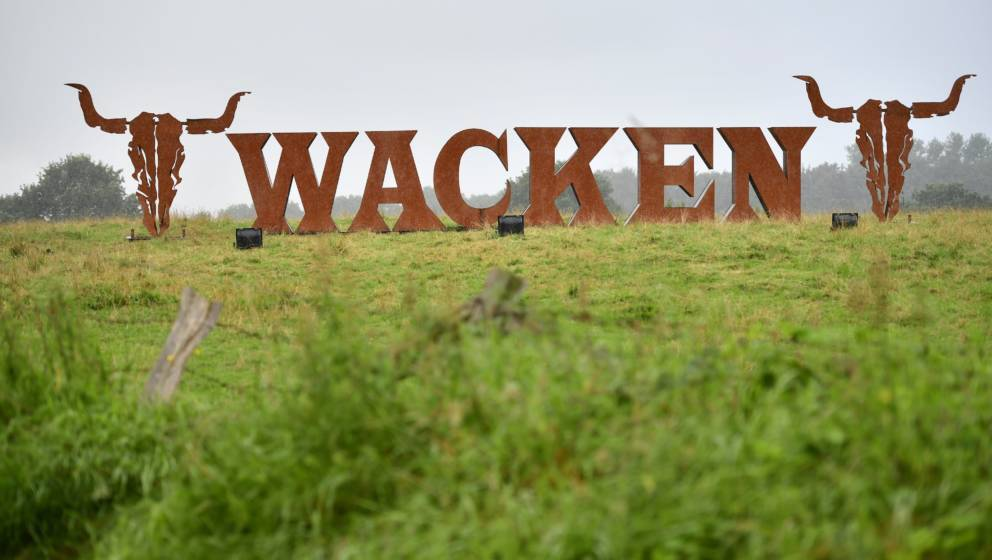 WACKEN, GERMANY - AUGUST 05: The offical Wacken emblem greets festival goers outside the village of Wacken for the Wacken Ope