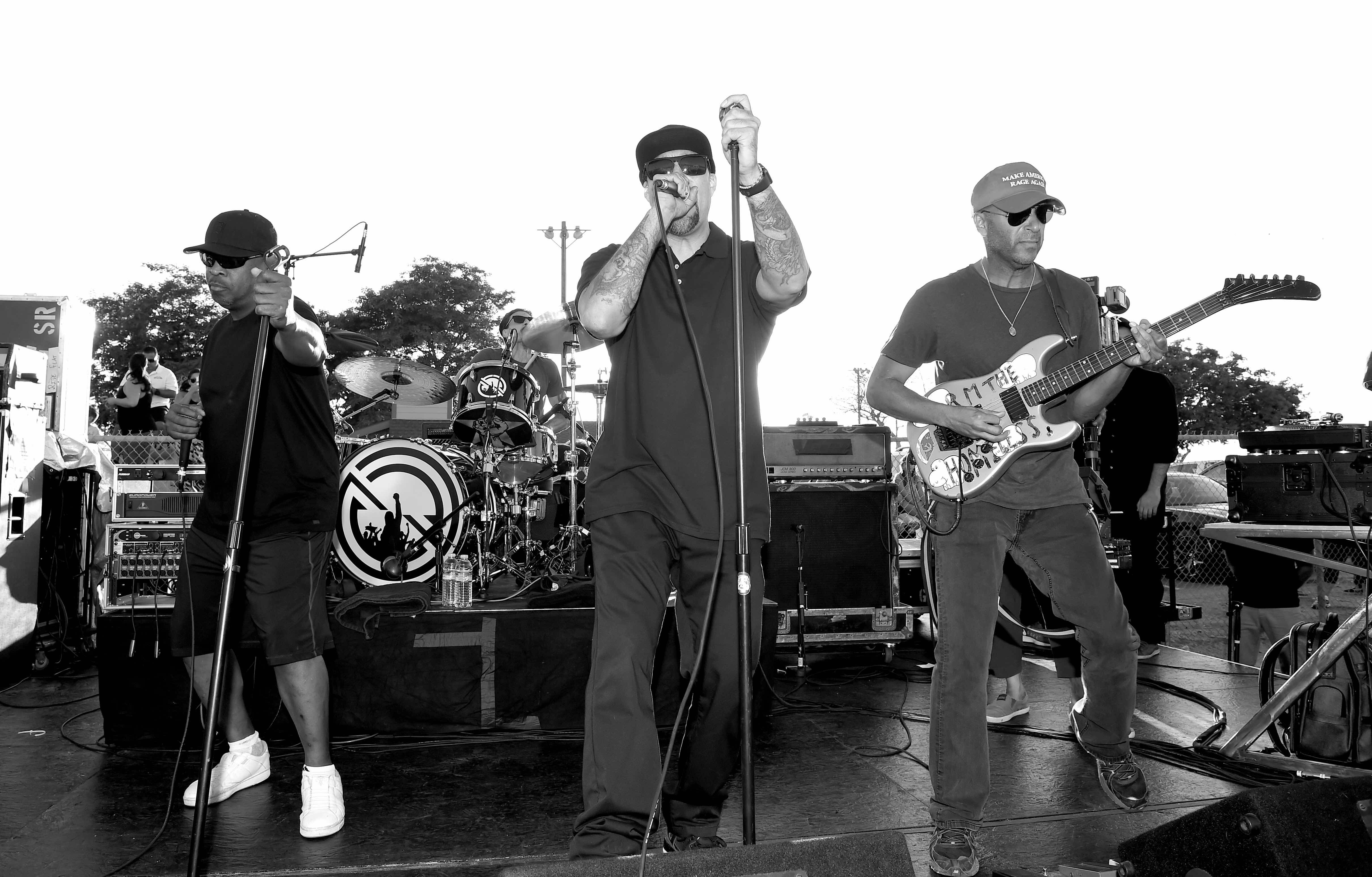 NORCO, CA - AUGUST 10:  (EDITOR'S NOTE: Image has been digitally converted to black and white.) (L-R) Musicians Chuck D, B-Re