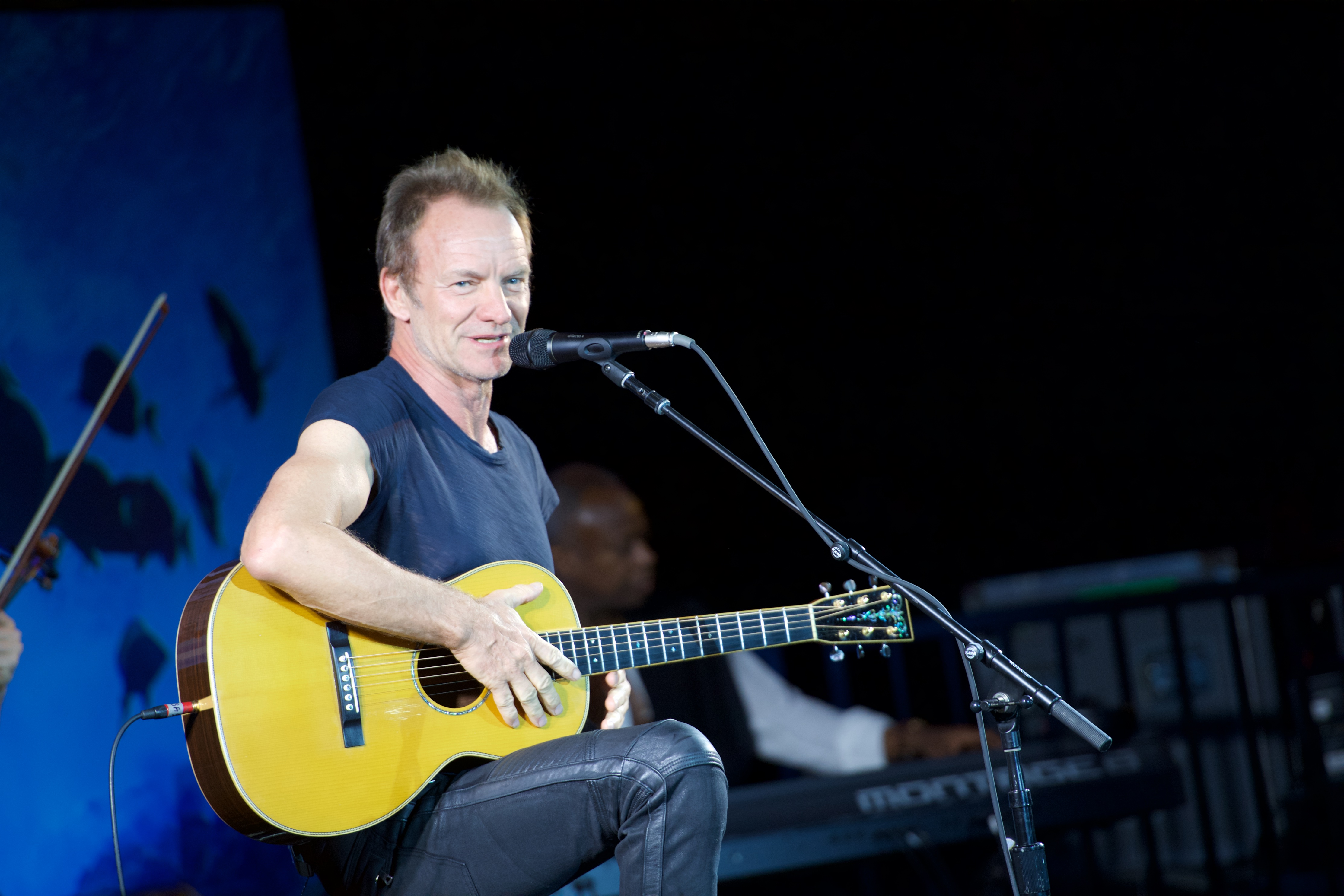 LOS ANGELES, CA - JULY 19:  Musician Sting performs for Oceana: Sting Under The Stars on July 19, 2016 in Los Angeles, Califo