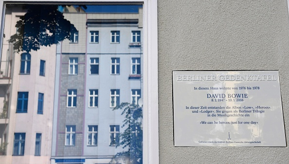 The commemorative plaque dedicated to musician David Bowie reading 'In this house lived from 1976 to 1978 David Bowie. During