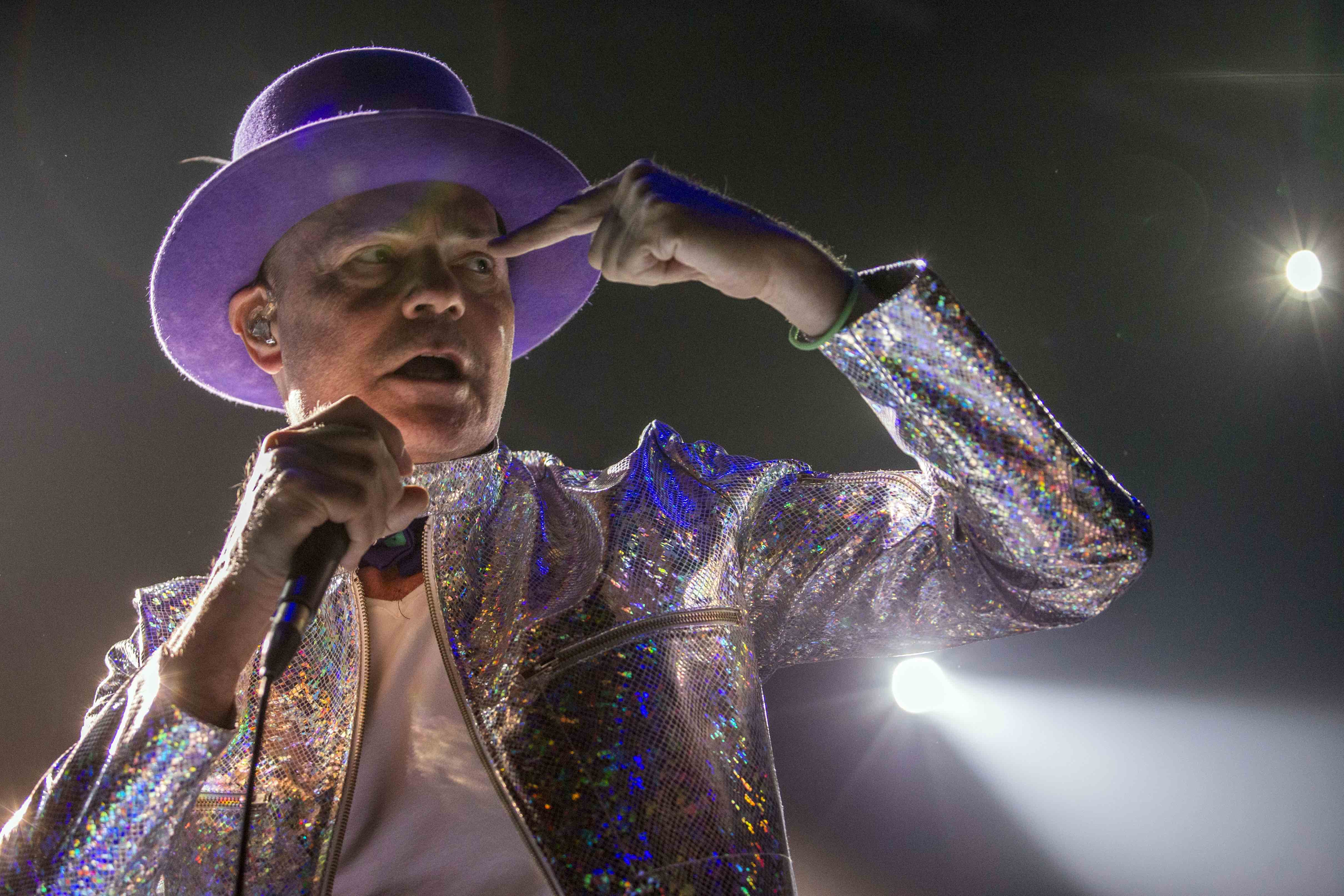 TORONTO, ON - AUG. 10:   Gord Downie of The Tragically Hip performing at the Air Canada Centre in Toronto as part of the band