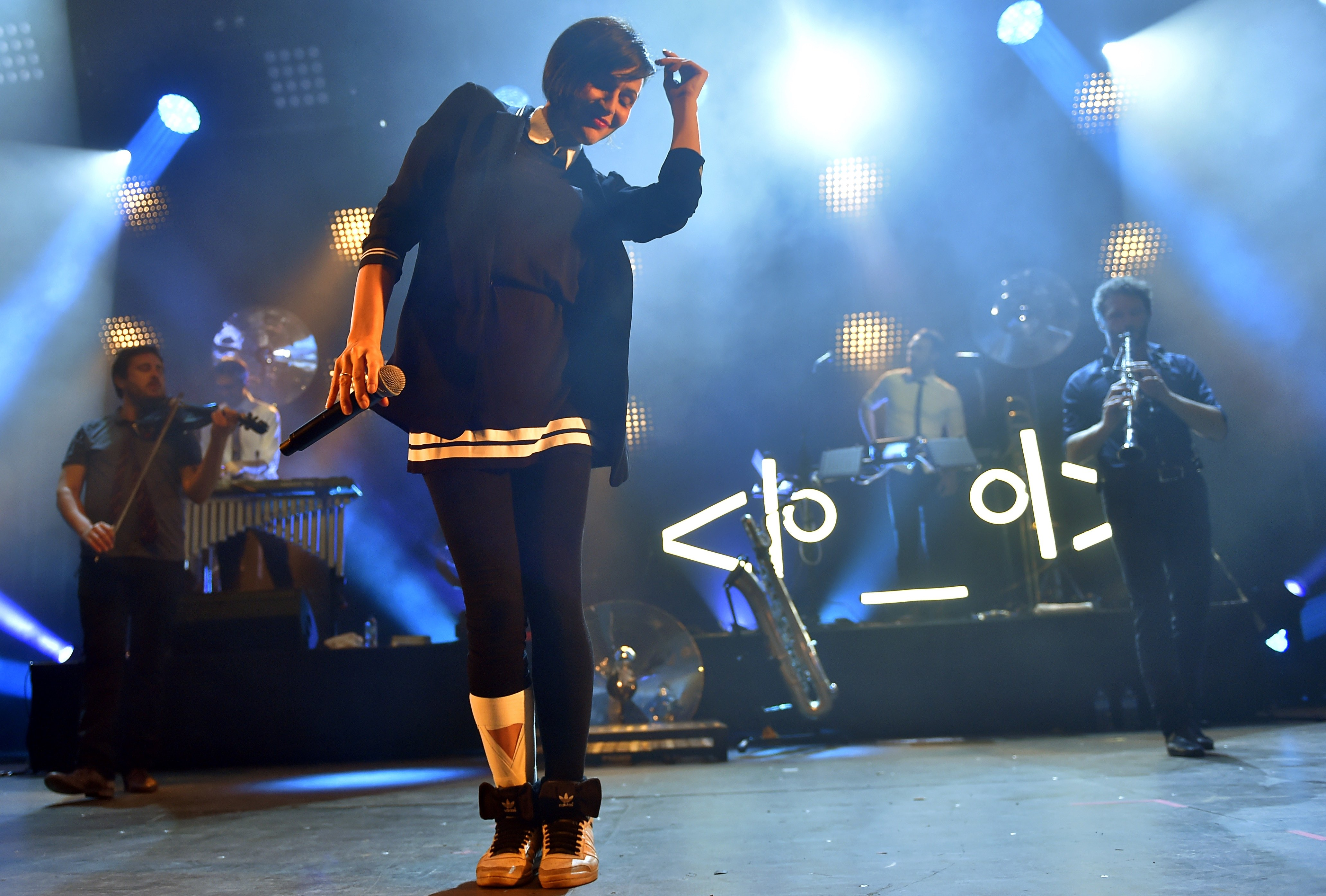 French electro swing band Caravan Palace performs during the Festival du Bout du Monde music festival, on August 5, 2016 in C