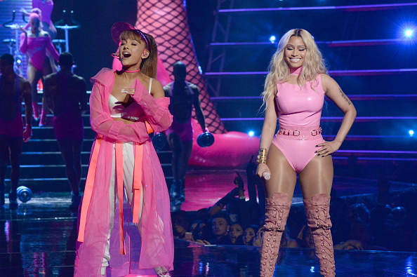 NEW YORK, NY - AUGUST 28:  Ariana Grande and Nicki Minaj perform onstage during the 2016 MTV Video Music Awards at Madison Sq