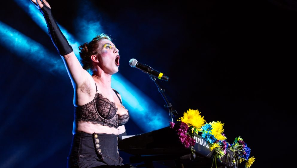 BOSTON, MA - AUGUST 26:  Amanda Palmer of The Dresden Dolls performs at Blue Hills Bank Pavilion on August 26, 2016 in Boston